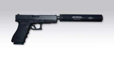 Pistolet équipé avec un silencieux Vortex PA-45